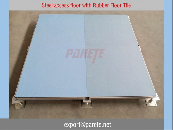 Steel access floor system with Rubber floor Covering